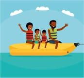 Family riding banana boat. Summer vacation time vector illustration. Sea tour. African american family. Flat cartoon Royalty Free Stock Photo
