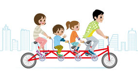 Family riding Bicycle, Cityscape background Stock Images