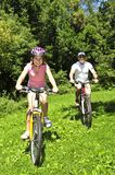 Family riding bicycles. Teenage girl and her father riding bicycles in summer park Royalty Free Stock Image