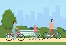 Family riding bikes. Mother, father and children outdoor recreational activity. Vector illustration concept leisure. Happy people and healthy lifestyle in vector illustration