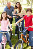 Family riding bikes in park stock photography