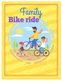 Family Riding Bikes Together Colorful Poster. vector illustration