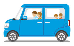 Family riding the Blue car,Side view - Isolated stock illustration