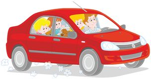 Family riding by car Royalty Free Stock Photography