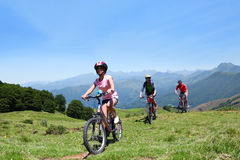 Family riding mountain bikes Royalty Free Stock Photo