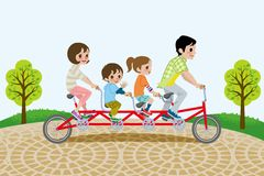 Family riding Tandem Bicycle, in the park. Illustration of Family Who riding Tandem Bicycle, in the park Royalty Free Stock Photos