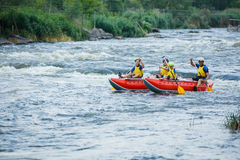 Family River Rafting Stock Photos