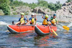 Family River Rafting Stock Photo