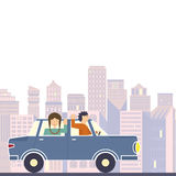 Family in Road Trip. Illustration of family going on the road trip by car with modern buildings on the background. Road trip adventure flat vector graphic Stock Photo