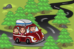 Family on a road trip. A vector illustration of happy family on a road trip Stock Images