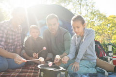 Family roasting marshmallows outside the tent Royalty Free Stock Photos