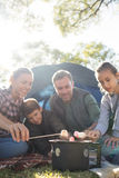 Family roasting marshmallows outside the tent Stock Image
