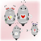 Family of robots - parents and their children stock illustration