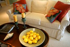 Family Room. With white sofa, large, colorful Royalty Free Stock Images