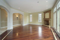 Family room with arched doors. Family room with arches in new construction home Stock Photography