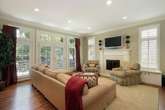 Family room with brick fireplace Royalty Free Stock Photo