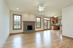 Family room with brick fireplace Stock Images