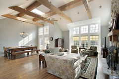 Family room with ceiling beams Royalty Free Stock Photography