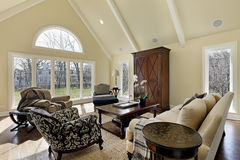 Family room with curved window Stock Image