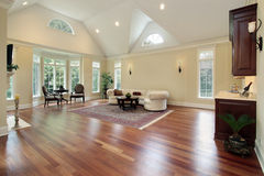 Family room with curved windows Royalty Free Stock Image
