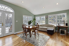 Family room with doors to deck Stock Images