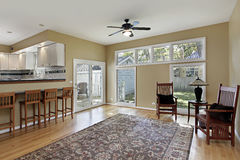 Family room with doors to patio stock image