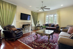 Family room with fireplace Royalty Free Stock Images