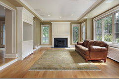 Family room with fireplace royalty free stock photos