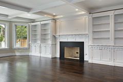 Family room with fireplace Stock Image