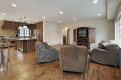 Family room with kitchen view Stock Photos
