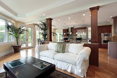 Family room with kitchen view royalty free stock photography