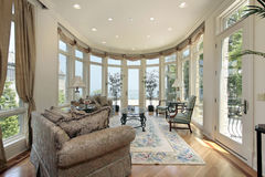 Family room with lake view Royalty Free Stock Photos
