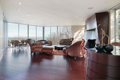 Family room with lake view Stock Photography