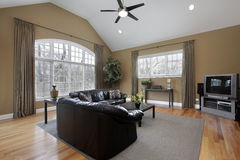 Family room with large picture window Stock Images