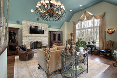 Family room in luxury home Royalty Free Stock Images