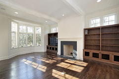 Family room in new construction home Stock Images