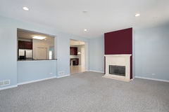Family room in new construction home Stock Image