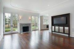 Family room in new construction home Stock Photos