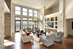 Family room in open floor plan