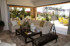 Family Room with Outdoor Livingroom Royalty Free Stock Photo