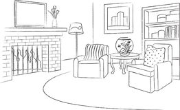 Family Room Sketch and Outline Illustration. For many purpose such as print on paper, book, display on website, blog, etc. EPS 10 format file Vector Illustration