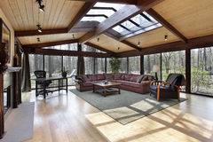 Family room with skylights Stock Image