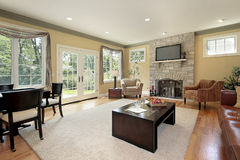 Living Room With Stone Fireplace Stock Images - Image: 13174174