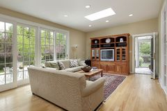 Family room with doors to patio Stock Photography
