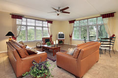 Family room in suburbs. Family room in suburban home with orange sofas Royalty Free Stock Photography
