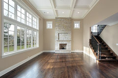 Family room with two story fireplace Stock Image