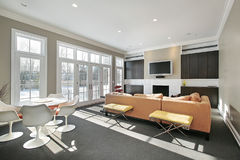 Family room with wall of windows Royalty Free Stock Photo