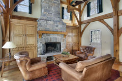 Family room with wood beams Royalty Free Stock Photography