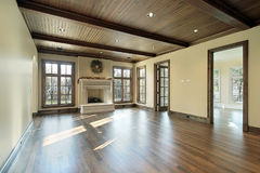 Family room with wood ceiling Royalty Free Stock Photo