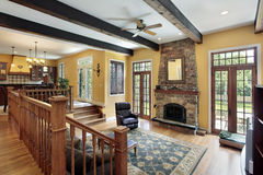 Family room with wood ceiling beams Royalty Free Stock Photography